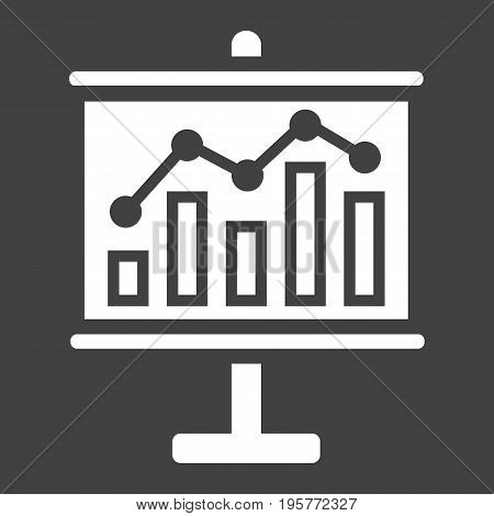 Business growing chart on board solid icon, business and presentation, vector graphics, a glyph pattern on a black background, eps 10.