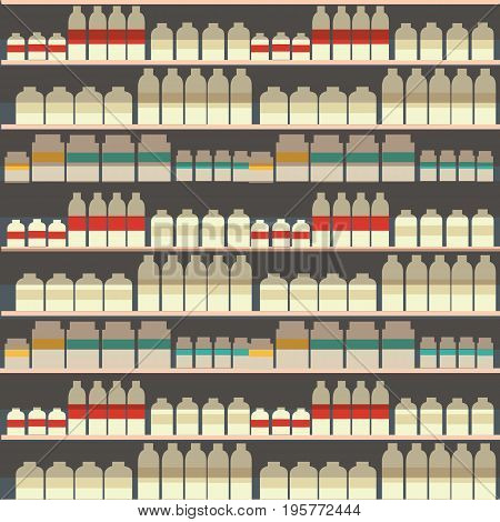 seamless pattern of dairy department, milk shelf with fresh healthy food in supermarket, big choice of organic farm products sale in food shop, yogurt background vector illustration.