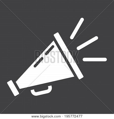Promotion solid icon, business and loudspeaker, vector graphics, a glyph pattern on a black background, eps 10.