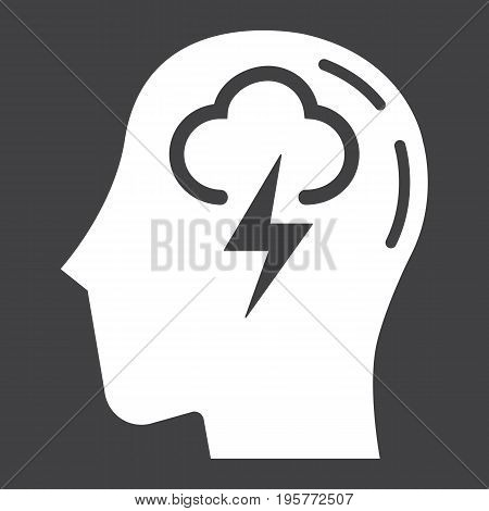 Brainstorm solid icon, business and idea, vector graphics, a glyph pattern on a black background, eps 10.