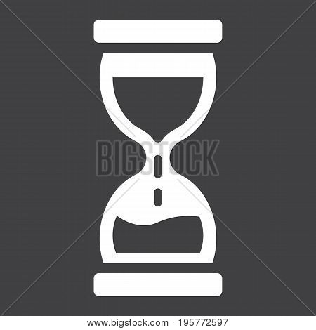 Hourglass solid icon, business and deadline, vector graphics, a glyph pattern on a black background, eps 10.