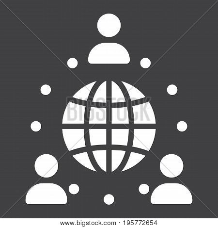 Global partnership solid icon, business and international, vector graphics, a glyph pattern on a black background, eps 10.