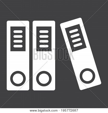 Binders solid icon, business and folder, vector graphics, a glyph pattern on a black background, eps 10.