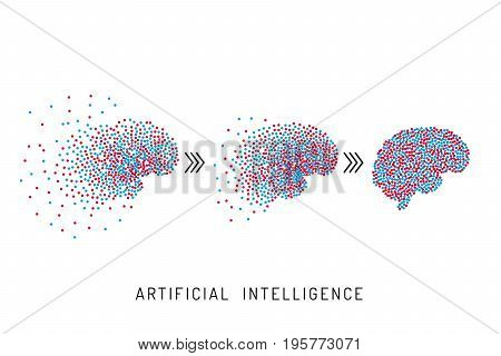 The concept of the development of artificial intelligence, the creation of a learning neural network. The banner which is developing brain computer network
