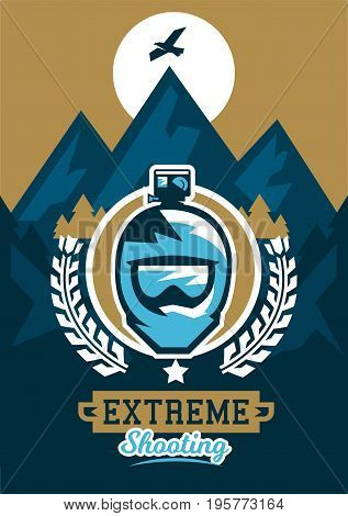 Vector illustration on the theme of extreme sport and mountain biking. Landscape, forest, fresh air. The invitation to the event. Photographer, video director, glasses, helmet, camera