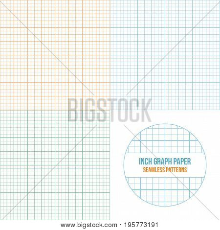 Vector graph paper seamless patterns set, grid accented every inch