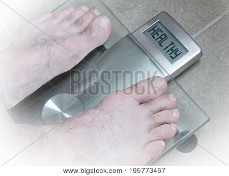 Man's Feet On Weight Scale - Healthy