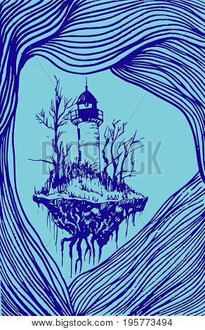 Flying lighthouse among the waves blue outline surrealistic landscape isolated. Vector hand drawn illustration.Color page for adults and children. Book textile print poster design stickercard