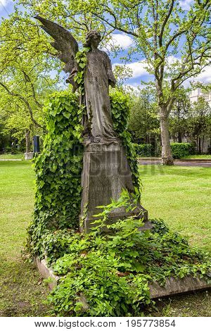 BUDAPEST HUNGARY - MAY 8: Angel with one wing at Kerepesi - historic cemetery on May 8 2017 in Budapest