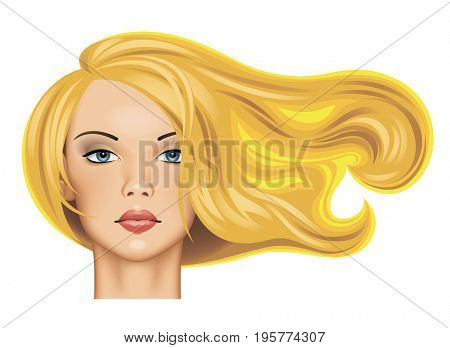 Head of a pretty blonde girl with long fluttering hair in sunlight isolated on white