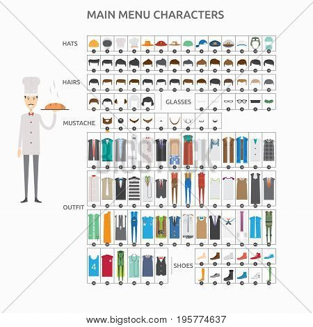 Character Creation Baker   set of vector character illustration use for human, profession, business, marketing and much more.The set can be used for several purposes like: websites, print templates, presentation templates, and promotional materials.
