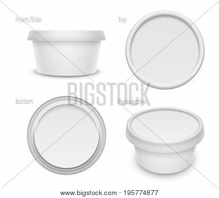 Vector white round container for cosmetics cream butter or margarine spread. Top bottom front and perspective views isolated over the white background. Packaging template illustration.