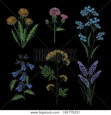 Set of embroidery plants on black background. Different flower compositions, wildflowers. Folk line trendy pattern for clothes, dress, decor. Colorful satin stitch floral design vector illustration