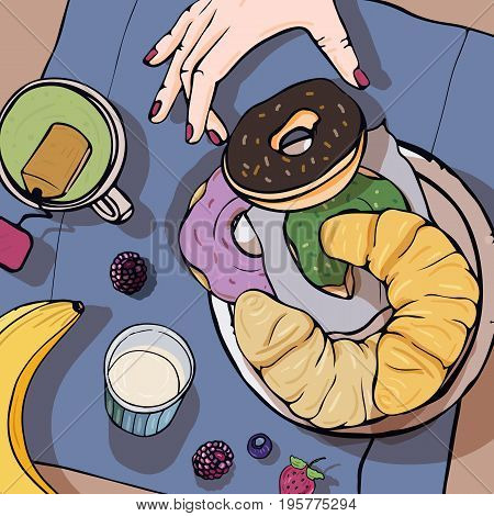 Breakfast top view. Square with luncheon. Healthy, fresh brunch tea, donuts, banana, croissant and berries. Colorful hand drawn vector illustration