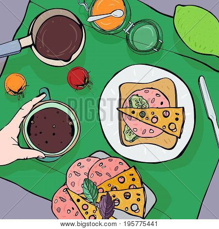 Breakfast top view. Square with luncheon. Healthy, fresh brunch coffee, lime, jam, sandwich with sausage, cheese and tomatoes. Colorful hand drawn vector illustration