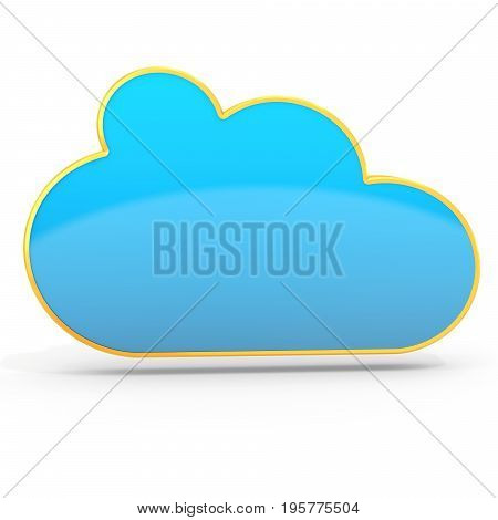 3D Golden Cloud Computing Floating