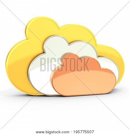3D Golden, Silver And Bronze Cloud Computing