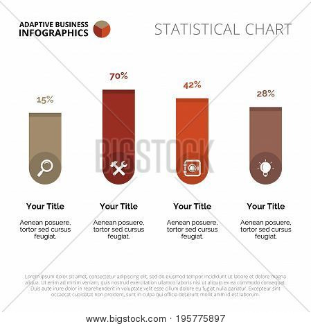 Bar chart. Element of chart with four columns, presentation, diagram. Concept for business data, presentation templates, reports. Can be used for topics like business data, finance, marketing analysis