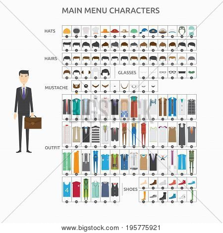 Character Creation Banker | set of vector character illustration use for human, profession, business, marketing and much more.The set can be used for several purposes like: websites, print templates, presentation templates, and promotional materials.