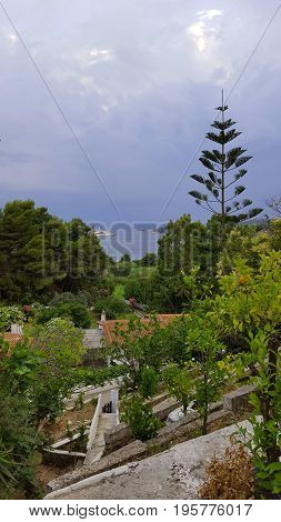 Sea view on a beautiful island of Skiathos in Greece summer day in June