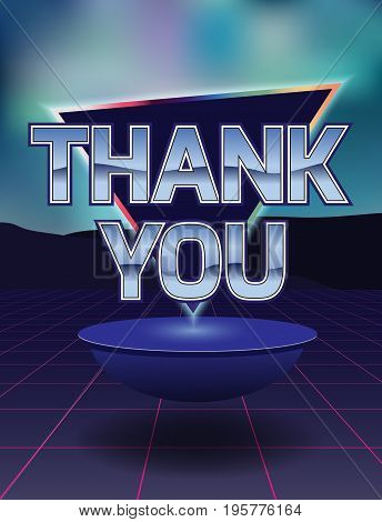 Card of thanks in the style of the eighties.Vector illustration.