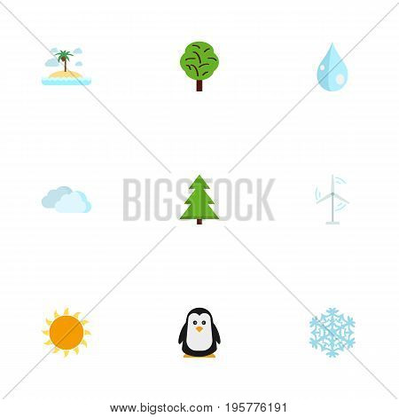 Flat Icons Water, Electric Mill, Sky And Other Vector Elements