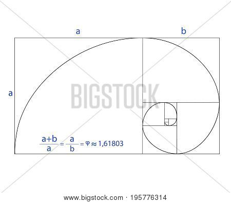 Golden ratio vector illustration set on white background