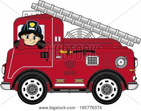 Cute Cartoon Fireman Firefighter and Fire Truck