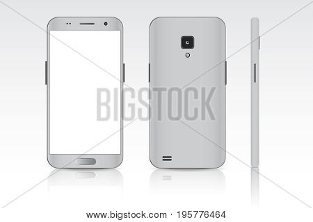 Realistic smartphone. Realistic vector illustrations phone. Device set. Realistic smartphone white. Phone from different sides.