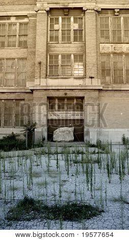 Abandoned inner city school entrance