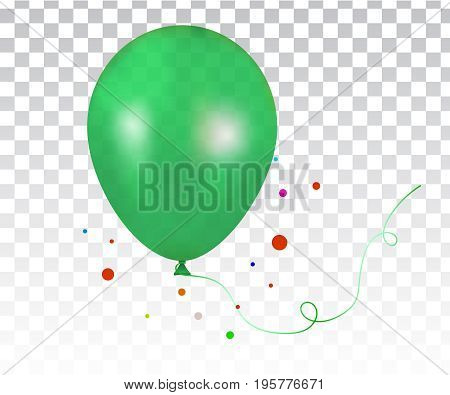 3d Realistic green Colorful Balloon. 3d Realistic Colorful Bunch of Birthday Balloons Flying for Party and Celebrations