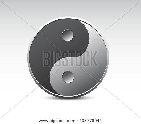 Ying yang icon. Ying yang realistic vector