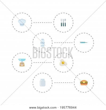 Flat Icons Omelette, Spice, Skillet And Other Vector Elements