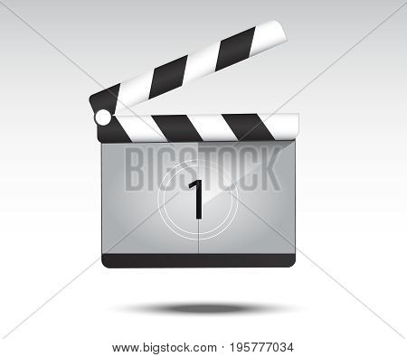 Realistic Clapper board with movie countdown . Clapper board icon. Cinema symbol vector