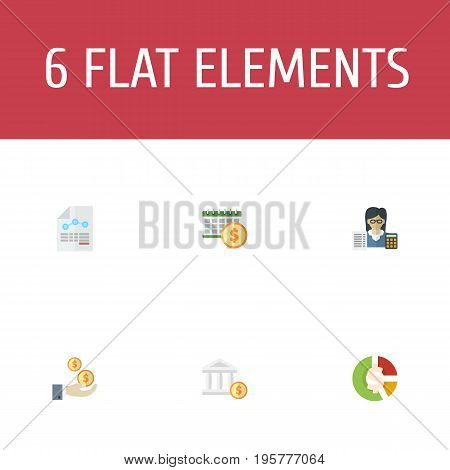 Flat Icons Paper, Profit, Stock And Other Vector Elements