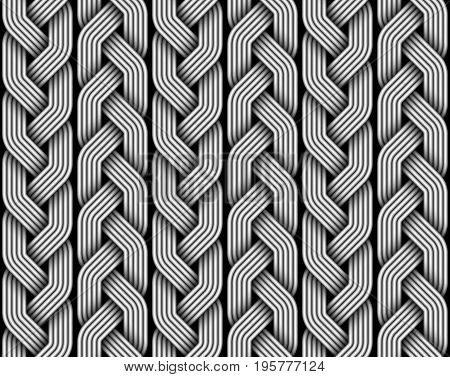 Braided pigtails fiber seamless pattern. Vector decorative illustration
