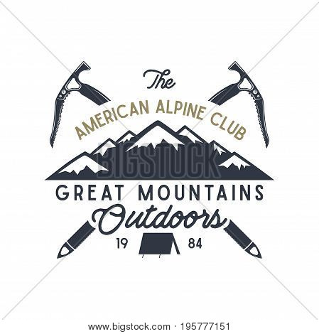 Great mountains outdoors label. Vintage hand drawn travel design. For camp mugs, t shirts, prints. Typography elements included. Vector isolate on white.