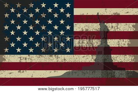 Flag of the United States of America and the Statue of Liberty.
