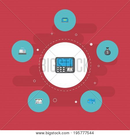 Flat Icons Atm, Teller Machine, Finance Sack And Other Vector Elements