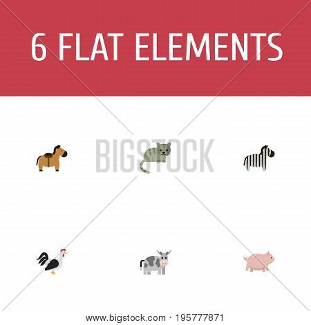 Flat Icons Pony, Kitty, Rooster And Other Vector Elements