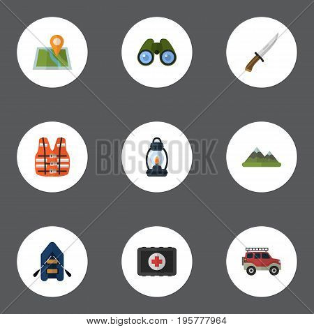 Flat Icons Hunting Cutter, Hill, Ship And Other Vector Elements