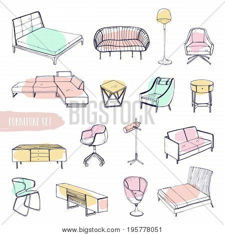Set of various furniture. Hand drawn different types sofas, chairs and armchairs, bedside tables, beds, tables, lamps collection. Colorful vector sketch illustration