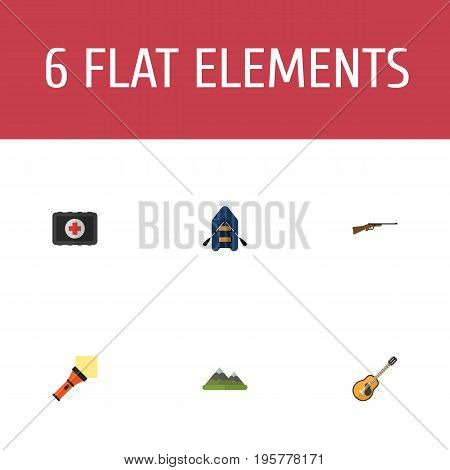 Flat Icons Fist Aid, Weapon, Music And Other Vector Elements