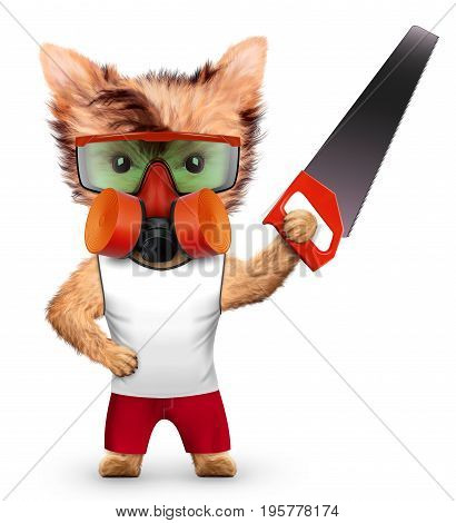 Funny dog with saw, respirator and protective goggles isolated on white background. Constructor and handyman concept. 3D illustration