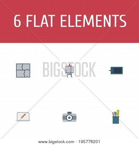 Flat Icons Scheme, Screen, Case And Other Vector Elements