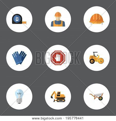 Flat Icons Mitten, Roll Meter, Tractor And Other Vector Elements