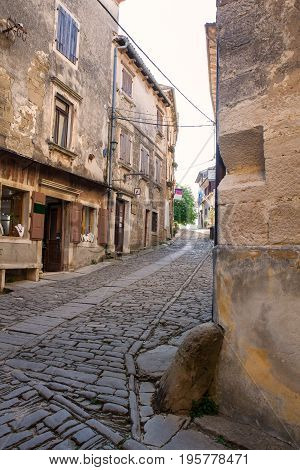 View of typical Groznjan alley Istria. Croatia