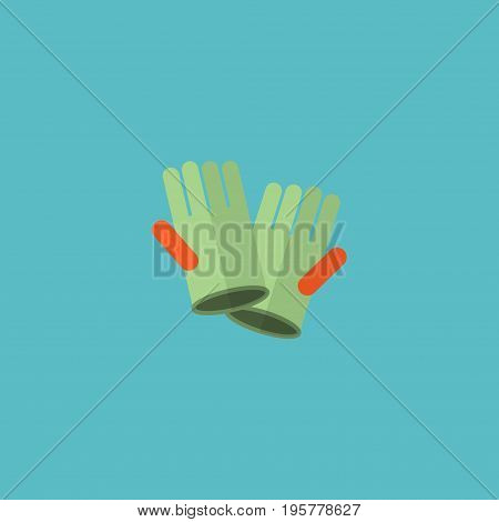 Flat Icon Cleaning Gloves Element. Vector Illustration Of Flat Icon Gauntlet Isolated On Clean Background