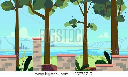 Seamless cartoon nature landscape with different platforms and separated layers for games.Vector illustration for your design. size.1920x1080