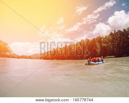 Rafting group team splashing waves, rafting sport.